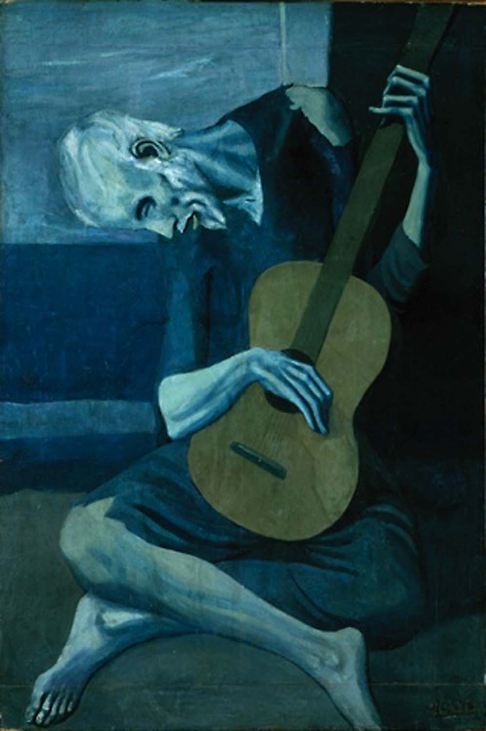 """picassos old guitarist essay Pablo picasso the old guitarist is one of the proofs why the well-known master of art is recognized as the greatest artist of the 20th century it was created in madrid in 1903, the time when picasso's best friend, casagemas committed suicide and somehow created so much influence on the so-called """"blue period"""" of picasso."""